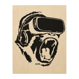 VR Gorilla Wood Wall Decor