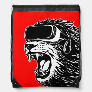VR Lion Drawstring Bag