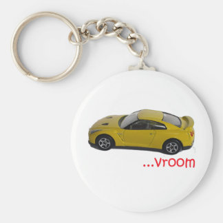 Vroom...fast car basic round button key ring