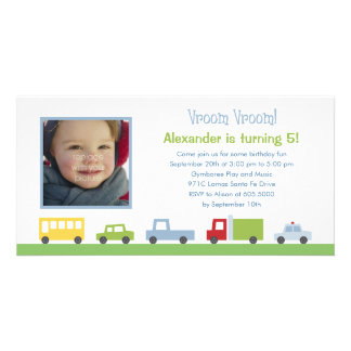 Vroom Vroom Cars Photo Birthday Party Invitation Customized Photo Card