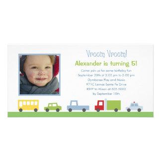 Vroom Vroom Cars Photo Birthday Party Invitation Customized Photo Card
