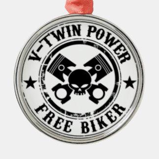 VTWIN POWER FREE BIKER METAL ORNAMENT