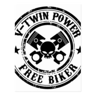 VTWIN POWER FREE BIKER POSTCARD