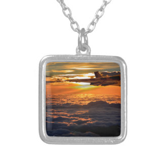 Vulcan bomber sunset sortie silver plated necklace
