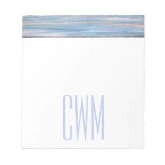 Vulnerable Office | Monogram Blue Peach Silver | Notepad