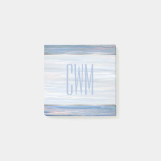 Vulnerable Office | Monogram Blue Peach Silver Post-it Notes