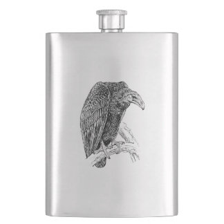 Vulture Bird Realistic Sketch Flasks