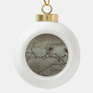 Vultures at Top of Leaveless Tree Ceramic Ball Christmas Ornament