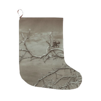 Vultures at Top of Leaveless Tree Large Christmas Stocking