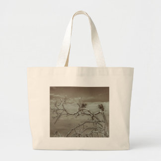 Vultures at Top of Leaveless Tree Large Tote Bag