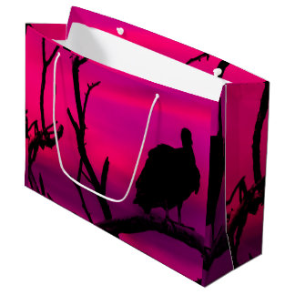 Vultures at Top of Tree Silhouette Illustration Large Gift Bag