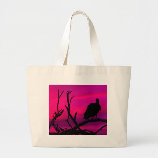 Vultures at Top of Tree Silhouette Illustration Large Tote Bag
