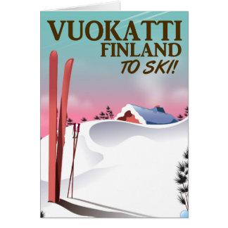 Vuokatti Finland ski poster Card