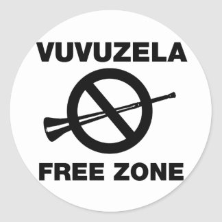 Vuvuzela Free Zone Classic Round Sticker