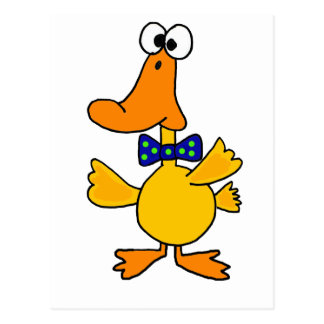 VV- Funny Duck in a Blue Polka Dot Bow Tie Cartoon Postcard