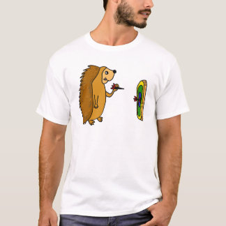 VV- Funny Hedgehog Throwing Darts Cartoon T-Shirt