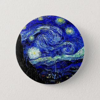 vVan Gogh Starry Night Fine Art 6 Cm Round Badge