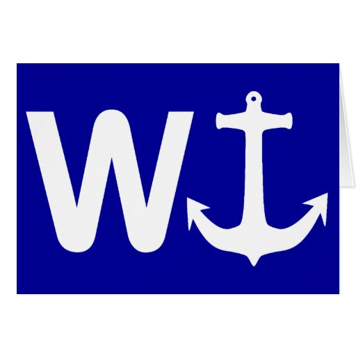 W Anchor Wanchor Funny Joke Gift Greeting Cards