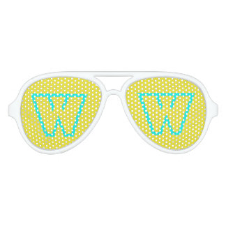 W Blue Yellow Aviator Party Shades, White Sunglass Aviator Sunglasses