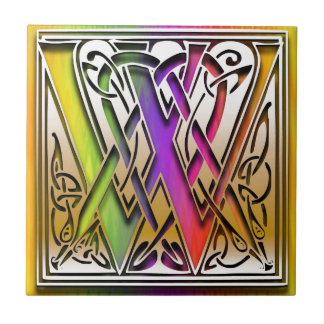 W Celtic Rainbow Custom Monogram Tile