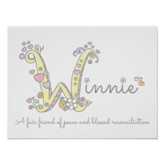 W for Winnie initial doodle art name meaning Poster