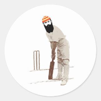 w g grace cricketer vintage round sticker
