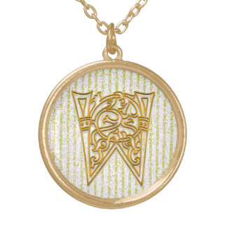 "W Initial Monogram ""Gold Pin Stripe"" Necklace"