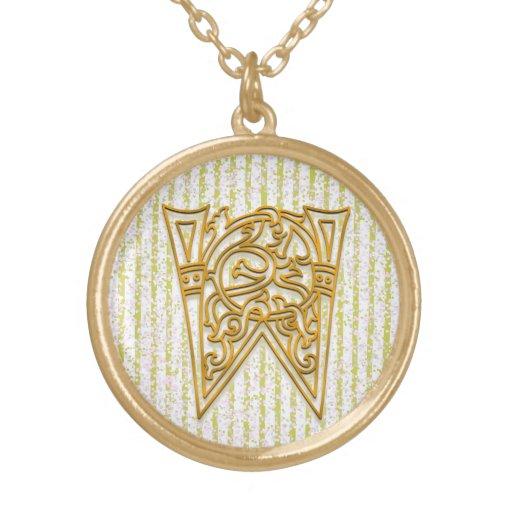 "W Initial Monogram ""Gold Pin Stripe"" Necklace Pendant"
