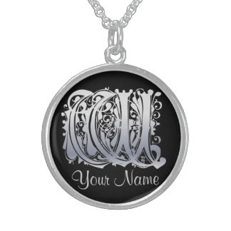 W Initial with Your Name Necklace Personalized Necklace