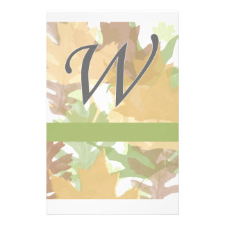 W Monogram Autumn Leaves with Green Personalised Stationery
