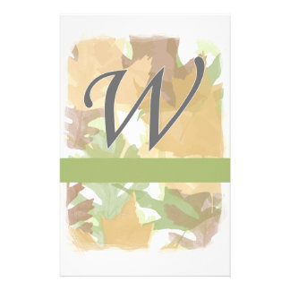 W Monogram Autumn Leaves with Green Personalized Stationery