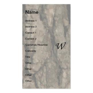 W Monogram Dark Bark1 Painterly Business Cards