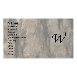 W Monogram Dark Bark1 Painterly Business Card Template