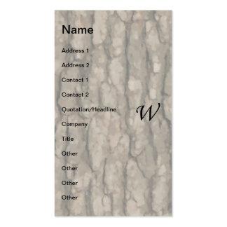 W Monogram Dark Bark 2 Painterly Business Card Template