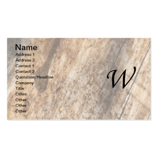 W Monogram Parchment and Dark Bark Business Cards