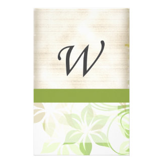 W Monogram Parchment and Green and Beige Floral Custom Stationery