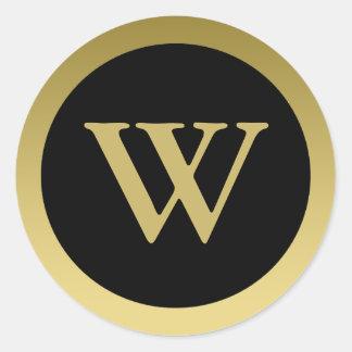 W :: Monogram W Elegant Gold and Black Sticker
