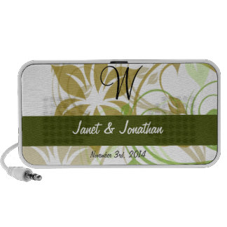 W Monogram with an Abstract Floral Speakers