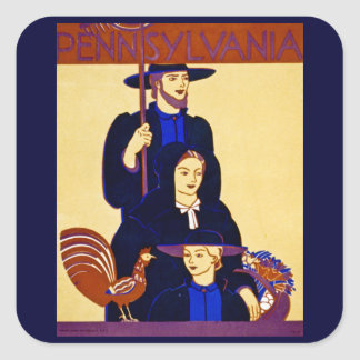 W.P.A. Pennsylvania Travel Poster Vintage Square Sticker