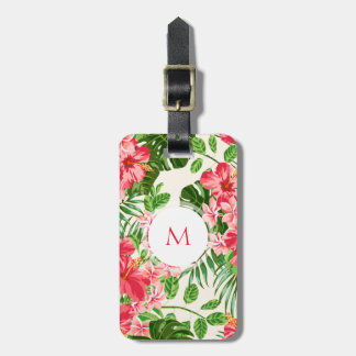 W Personalized Hibiscus Flower Monogram Luggage T Luggage Tag