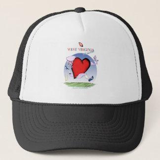 w virginia head heart, tony fernandes trucker hat