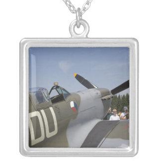 WA, Arlington, Arlington Fly-in, World War II 6 Square Pendant Necklace