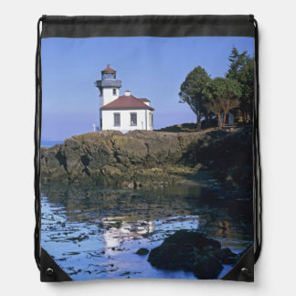 WA, San Juan Island, Lime Kiln lighthouse Drawstring Backpacks