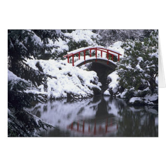 WA, Seattle, Moon bridge and pond after winter 2 Card