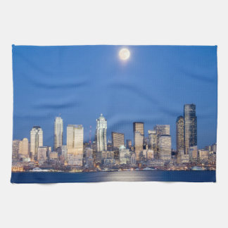 WA, Seattle, Seattle skyline and Elliott Bay 3 Tea Towel