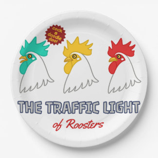< wa taking signal > The traffic light of roosters Paper Plate