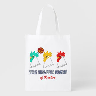 < wa taking signal > The traffic light of roosters Reusable Grocery Bag