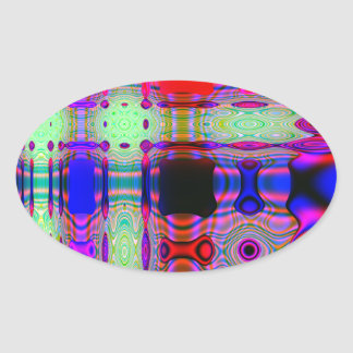 Wacky and Colorful Digital Abstract Oval Sticker