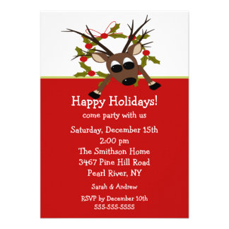 Wacky Reindeer Happy Holiday Party Invitation