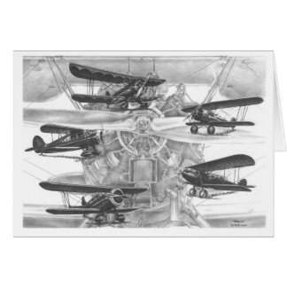 Waco Biplane Aviation Drawing by Kelli Swan Card
